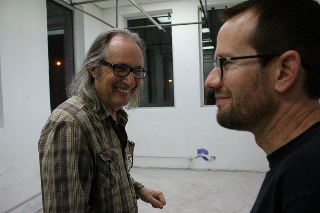 """Hills Snyder and James Davis at AP Art Lab, where """"Steam"""" is on exhibit. Photo by Page Graham."""