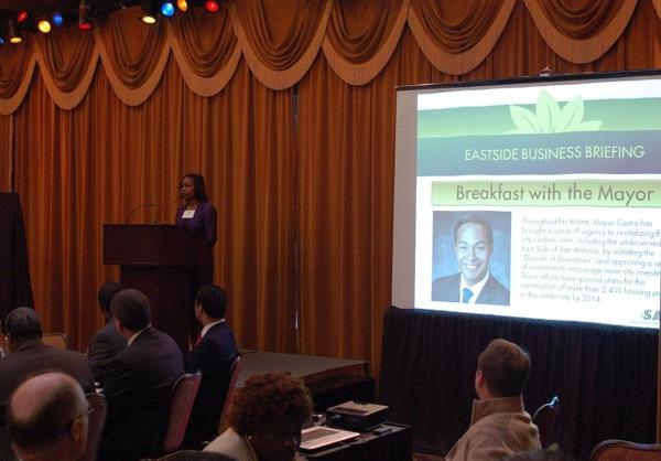 District 2 Councilwoman Ivy Taylor addresses the audience. Photo by Rene Jaime Gonzalez