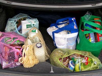Reusable grocery bags are becoming more common. Photo by Tim Samoff.