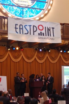 Unveiling of the official East Point banner. Photo by Rene Jaime Gonzalez