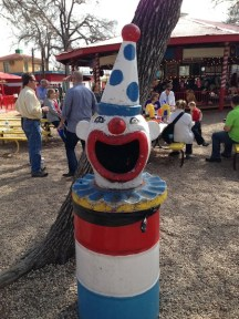 Clown trash can at Kiddie Park. Photo by Michael Taylor.