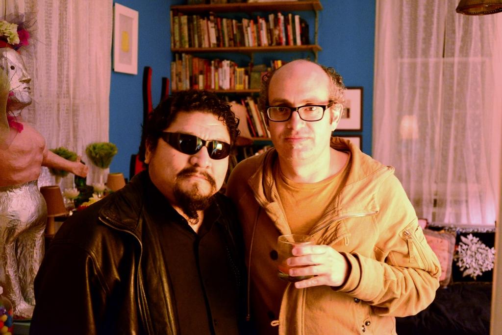 San Antonio artist Alex Rubio and visiting CAMx artist Manuel Rocha Iturbide at Casa Chuck. Photo by Page Graham.
