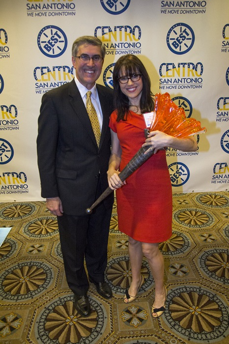 Centro San Antonio CEO Pat DiGiovanni stands with the 2014 Downtowner of the Year, Lori Houson, director of the Center City Development Office.