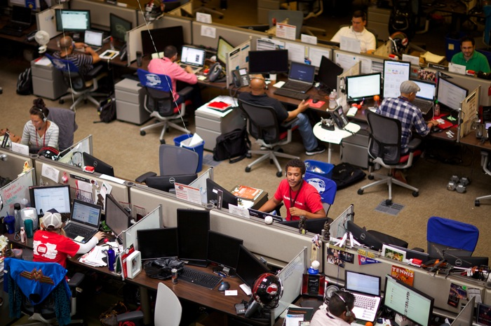 Rackspace encourages its employees to personalize their desk space with pictures, flags, decorations, etc. Photo courtesy of Rackspace.