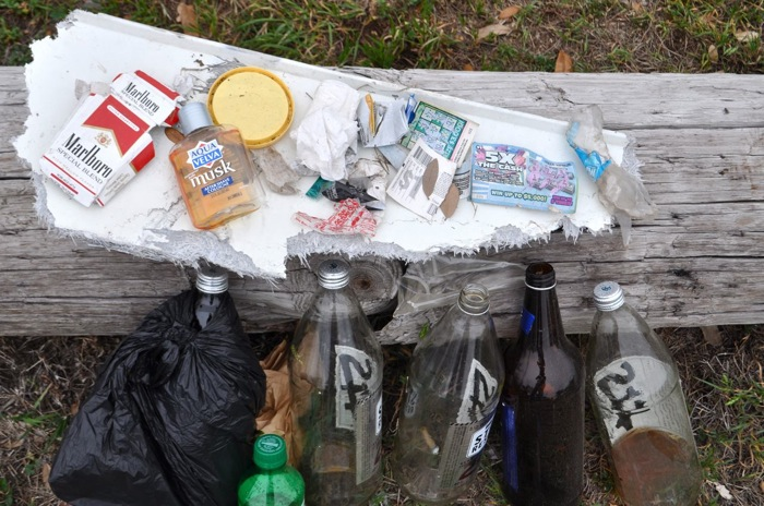A sampling of trash found at Labor Street Park. Photo by Iris Dimmick.