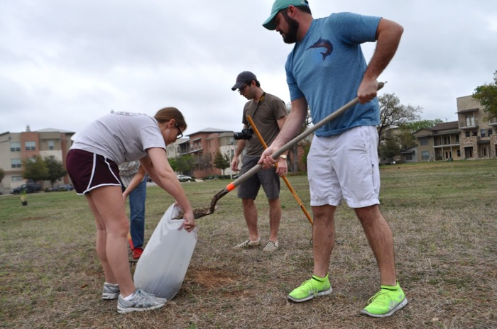 Downtown Kickballers shovel up broken glass and excess sticks/leaves in Labor Street Park. Photo by Iris Dimmick.
