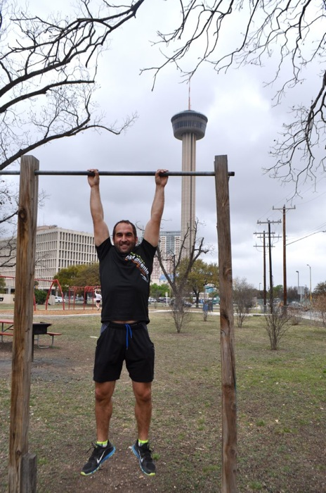 Regan Turner swinging at Victoria Park in Lavaca during a brief clean-up detour from Labor Street Park.