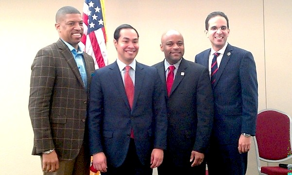 (From left) Mayors Kevin Johnson of Sacramento, Julián Castro, Michael Hancock of Denver, and Angel Taveras of Providence. Photo by Andrew Moore.