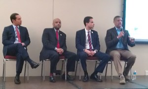 Mayors answer questions at the MEET town hall. Photo by Andrew Moore.