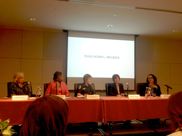 Texas Women of Influence Panel, from left, Accion Texas CEO Janie Barrera, St. Philip's College President Adena Williams Loston, Bexar County Sheriff Susan Pamerleau, City Manager Sheryl Sculley, and Alamo Travel Group CEO Patricia Pliego Stout. Photo by Sarah Gibbens.