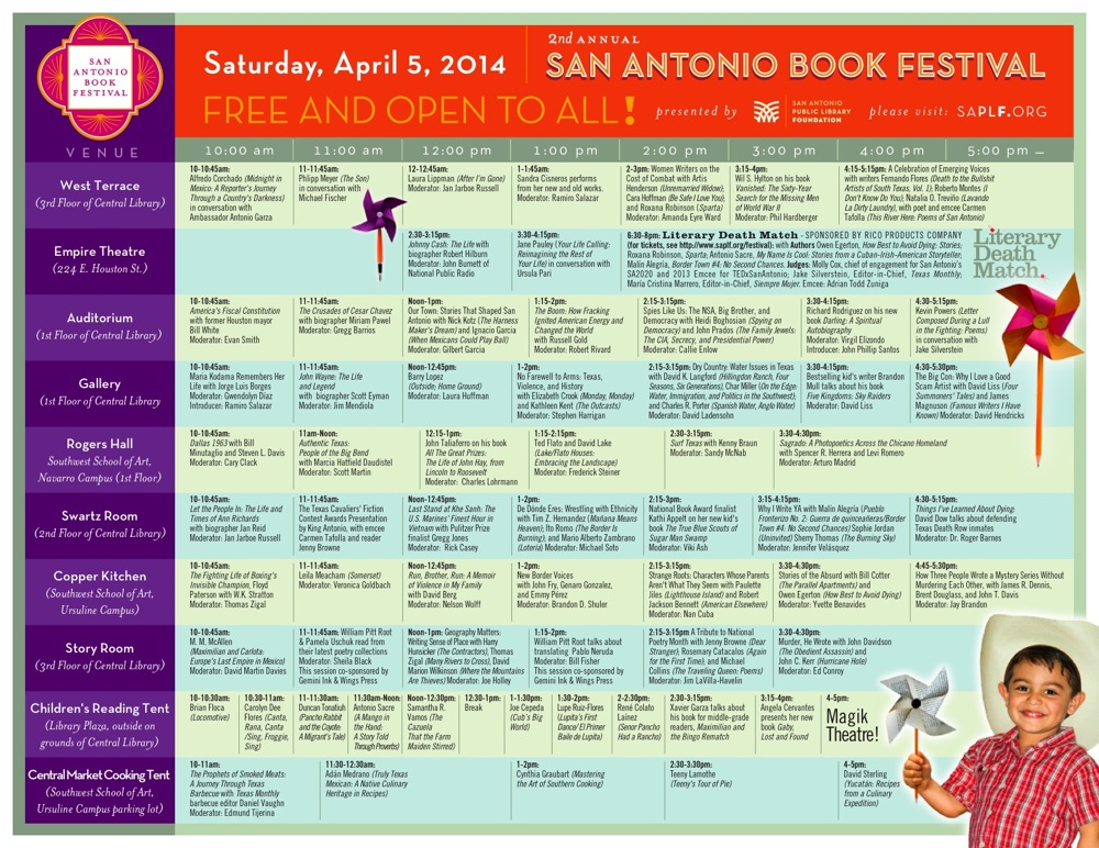 Schedule for the 2014 San Antonio Book Festival. Click here to download PDF.