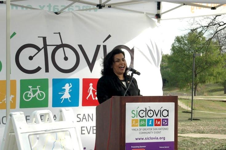 District 3 Councilwoman Rebecca Viagran at a press conference announcing Siclovia programming. Photo by Randy Bear.