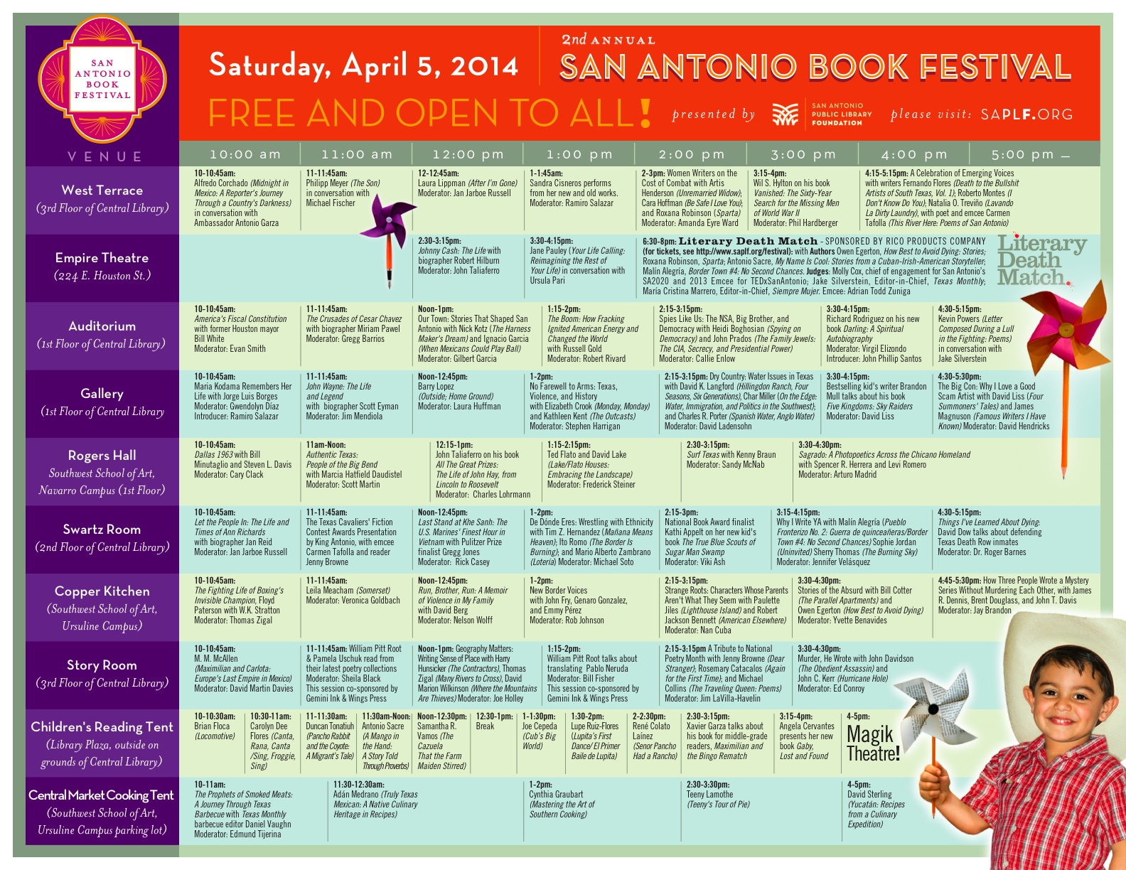The 2014 San Antonio Book Festival Schedule. Click image to enlarge or download PDF here.