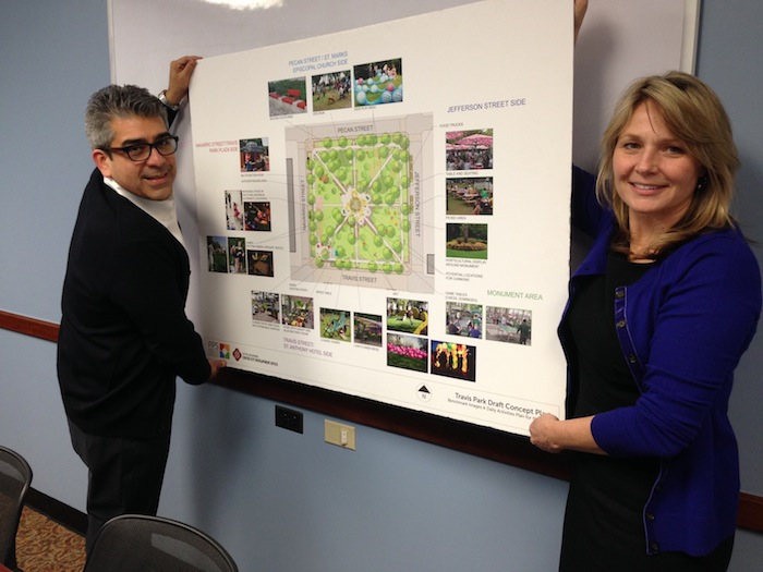 (From left) Xavier Urrutia and Colleen Swain proudly display the future plans for Travis Park.