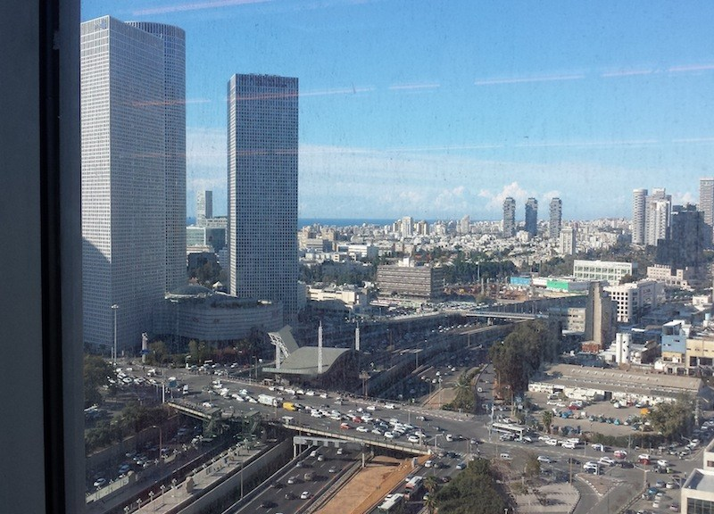 View of the Mediterranean Sea and Tel Aviv from the offices of Google Israel. Photo by Winslow Swart.