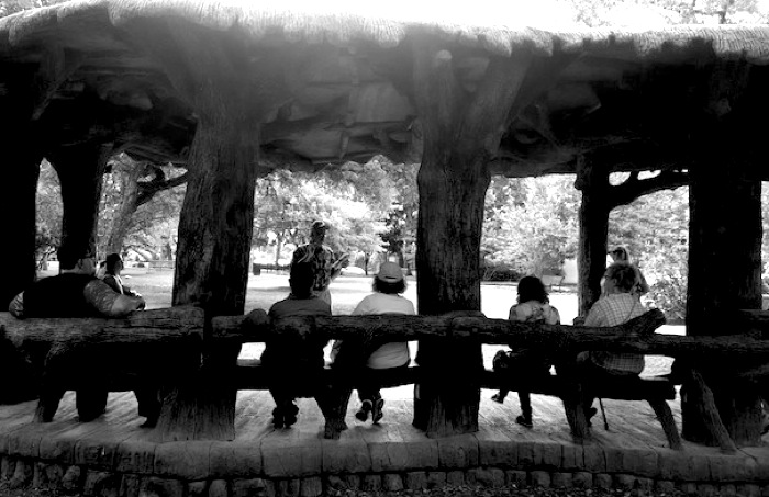 The faux bois gazebo at Landa Library. Photo by Francis Hicks.