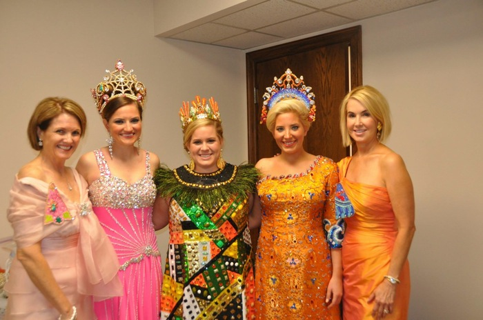 (From left) Martha Sheesley, Leah Sheesley, Georgie Ferrell, Claire Cavender and Suzanne Cavender after the 2013 Coronation. Photo by Veronica Prida.