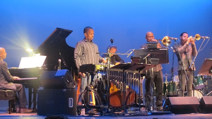 SF Jazz Collective members Vibraphonist Warren Wolf and pianist Edward Simon shine light on the ensemble sound. Photo by Adam Tutor.