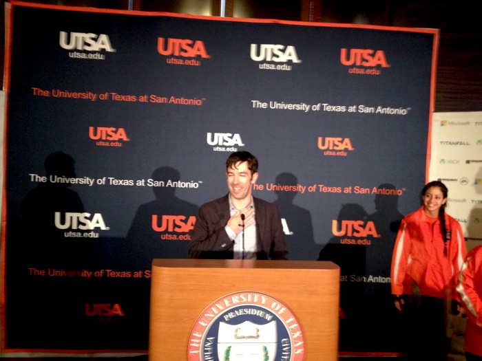 Brian Janous, director of energy strategy at Microsoft, announces the UTSA-Microsoft research collaborative. Photo by Robert Rivard.