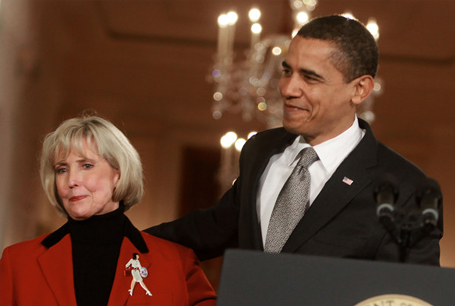 """Lilly Ledbetter will never receive restitution from Goodyear, but she said, """"I'll be happy if the last thing they say about me after I die is that I made a difference."""" Pictured: Lilly Ledbetter stands with President Barack Obama, who signed into law the first new law of his administration on on Jan. 29, 2009: the Lilly Ledbetter Fair Pay Act. Courtesy photo."""