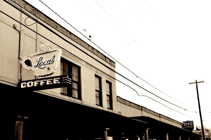 Bike World and Local Coffee's Alamo heights location on Broadway Street. Photo by Iris Dimmick.