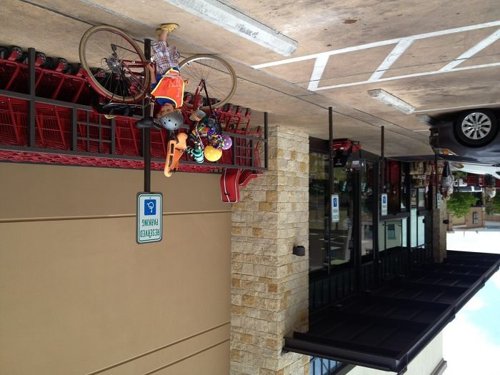 Improvised bike parking at Trader Joes until they implement shaded parking along the side. Photo by Anna CohenMiller.