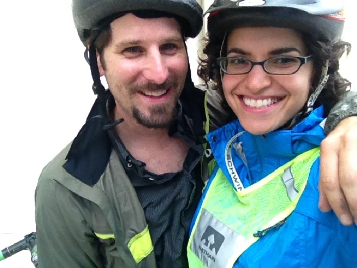 Anna and Doug CohenMiller after riding in the rain. Courtesy photo.