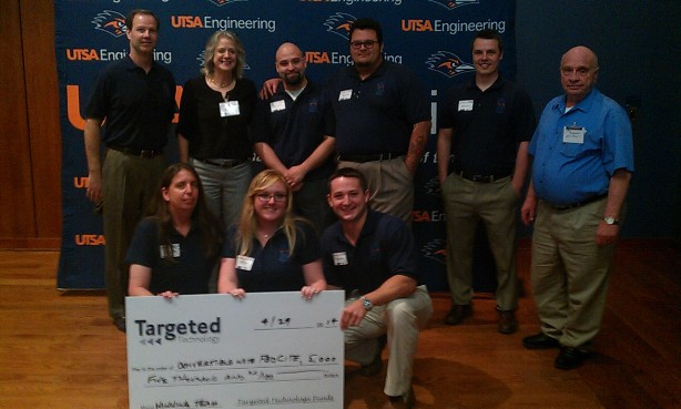 The Mediflow team takes first place at the $100K Student Technology Venture Competition at UTSA. Photo by Andrew Moore.