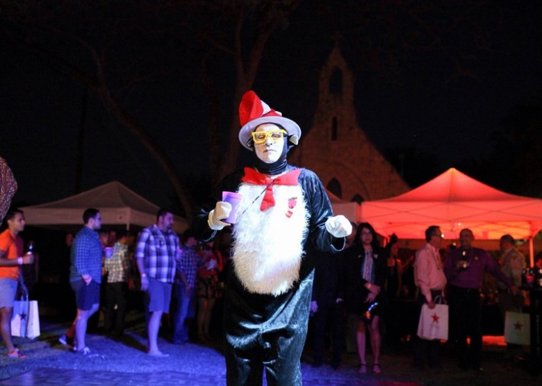 """Steve dressed, as """"The Cat in the Hat,"""" cuts a rug at the San Antonio AIDS Foundation WEBB Party on April 11, 2014. Photo by Scott Ball."""