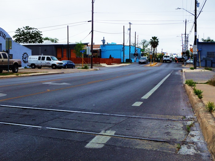 This section of South Flores Street will be closed to vehicular traffic for the Surface2Art Block Party Saturday, April 19 at 7 p.m. between Lachapelle & Fest Streets. Photo by Miles Terracina.