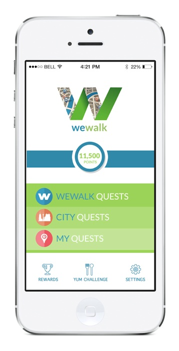 The WeWalk home screen. Courtesy image.