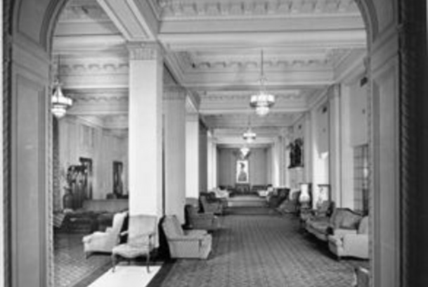 An historical photo of Peacock Alley in the St. Anthony Hotel.