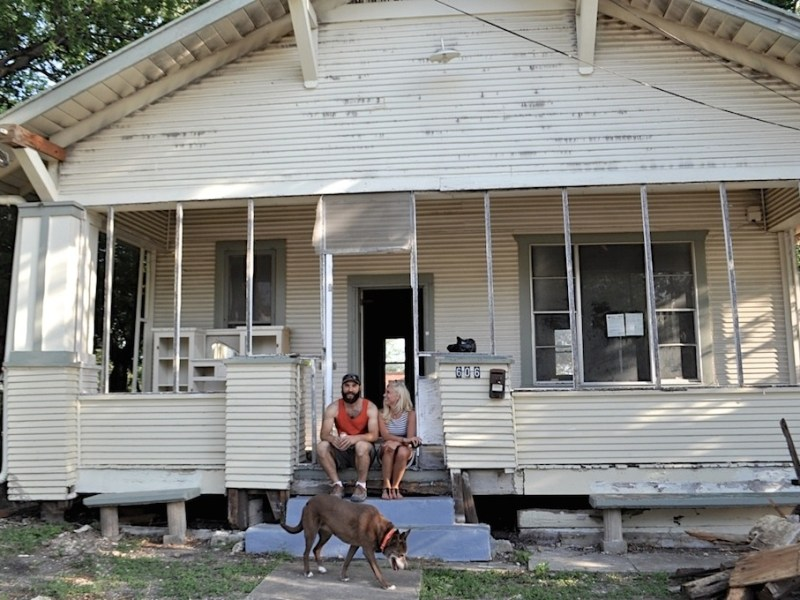 Cotton Estes and Mike Long are working on their new home in Dignowity Hill. Photo by Iris Dimmick.