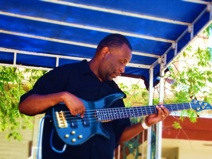 GMan Blues bassist plays during Fredstock 2014 at SAC. Photo by Miles Terracina.