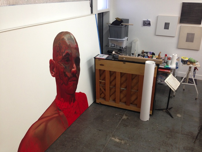 A piece by Vincent Valdez in the artists' studio. Photo by Taylor Browning.