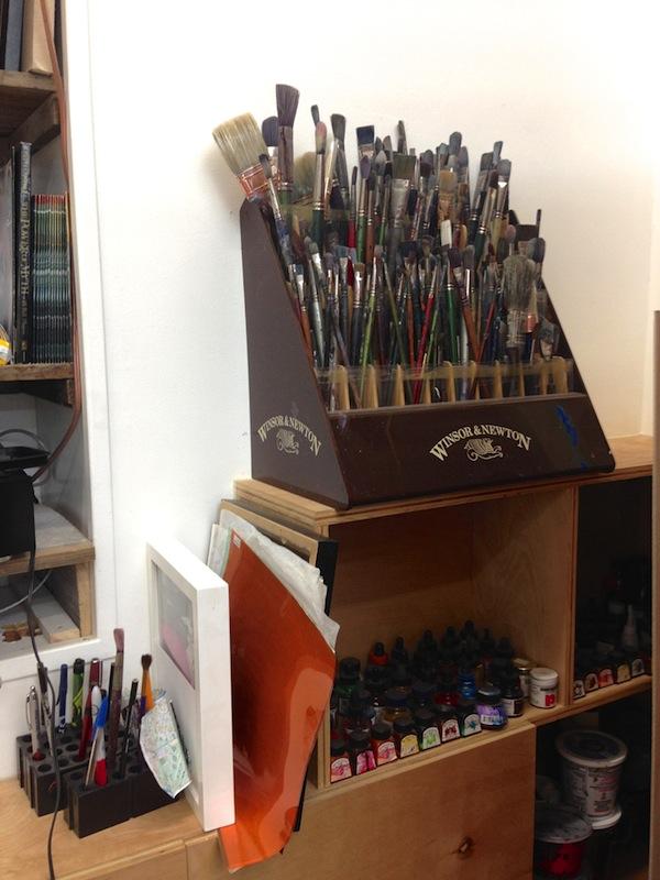 San Antonian artist Vincent Valdez' studio. Photo by Taylor Browning.