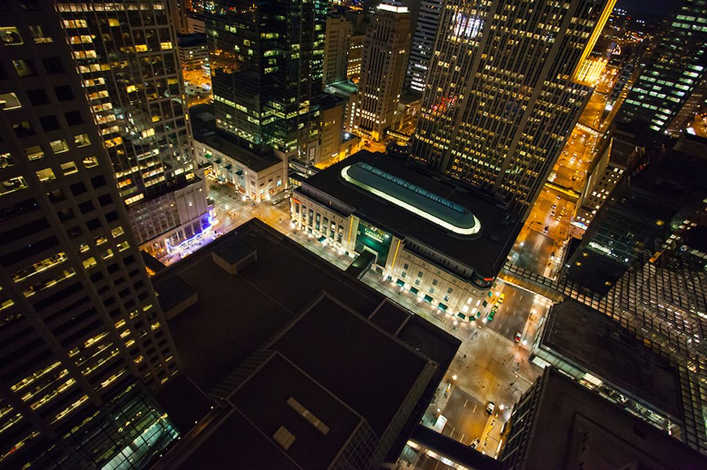 """""""Minneapolis Metropolis."""" Photo by Stephen G McDowell: """"hot from the roof of the Marriott City Center hotel in downtown Minneapolis. I like this for its bold representation of the downtown, Minneapolis area. It brings to mind Louis Sullivan and Fritz Lang."""""""