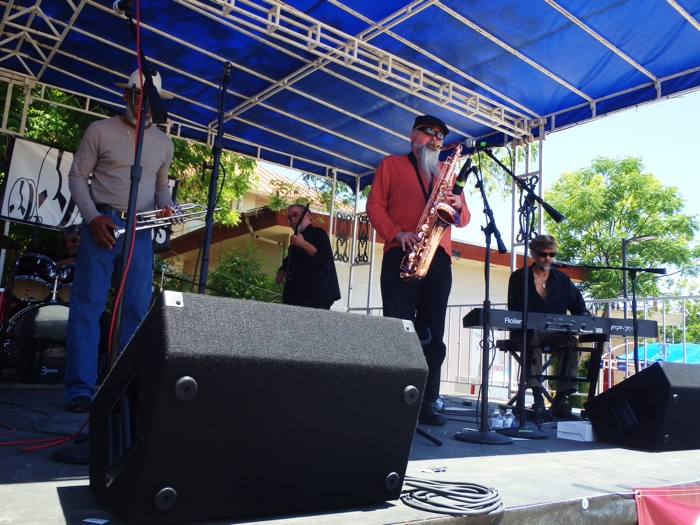 The S.A. Blue Cats kicked off the afternoon with a style of up-tempo swinging blues, led by two vocalists and a saxophone player. Photo by Miles Terracina.