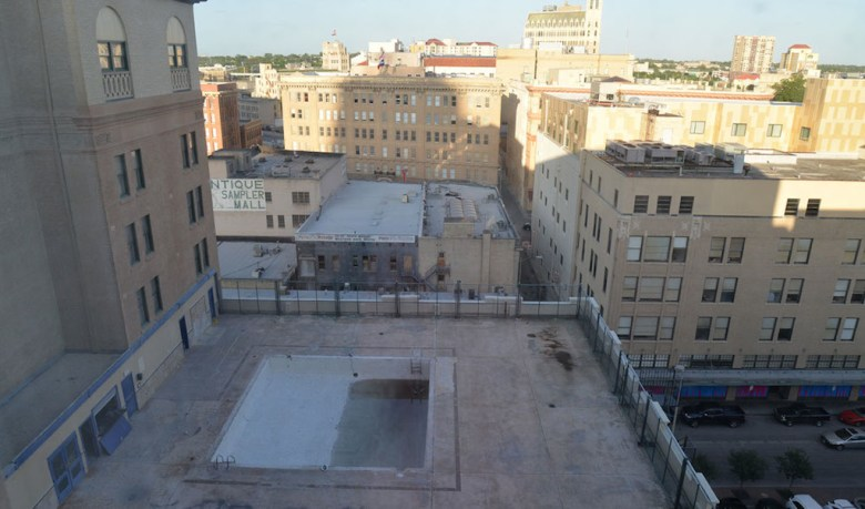 The 8,000-square-foot area of the 6th floor rooftop pool will undergo extensive renovation. The pool will be rimmed by a tiled deck; water will bubble up through the deck and waterfall back into the pool. Photo by Annette Crawford.