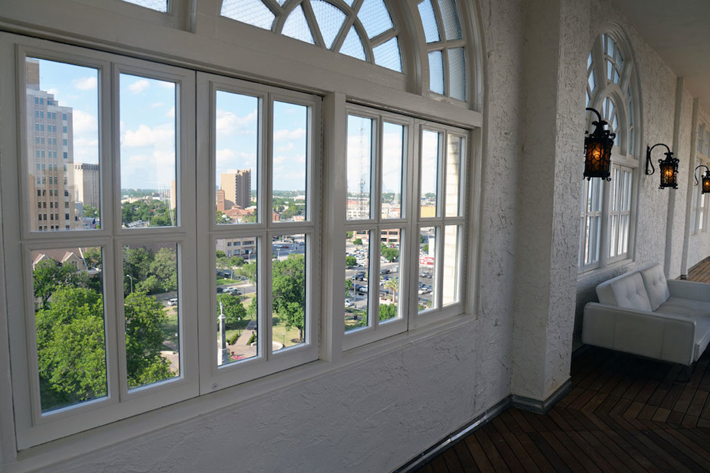 A view from the 10th floor terrace at the St. Anthony Hotel, looking toward Travis Park . The flooring was elevated more than two feet, allowing guests to fully enjoy the views from the expansive windows. Photo by Annette Crawford.