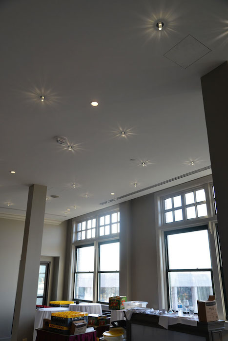 Starlights dot the ceiling in a small event room off the 10th floor terrace at the St. Anthony Hotel. Photo by Annette Crawford.