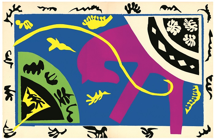 Henri Matisse (French, 1869-1954). Le cheval, l'écuyère, et le clown (The Horse, the Rider, and the Clown), plate V of XX from Jazz, 1947, Pochoir (stencil) on Arches paper; h. 16 ½ in. (41.9 cm), w. 25 ½ in. (64.8 cm) Bank of America Collection. Image courtesy of San Antonio Museum of Art. © 2014 Succession H. Matisse / Artists Rights Society (ARS), New York