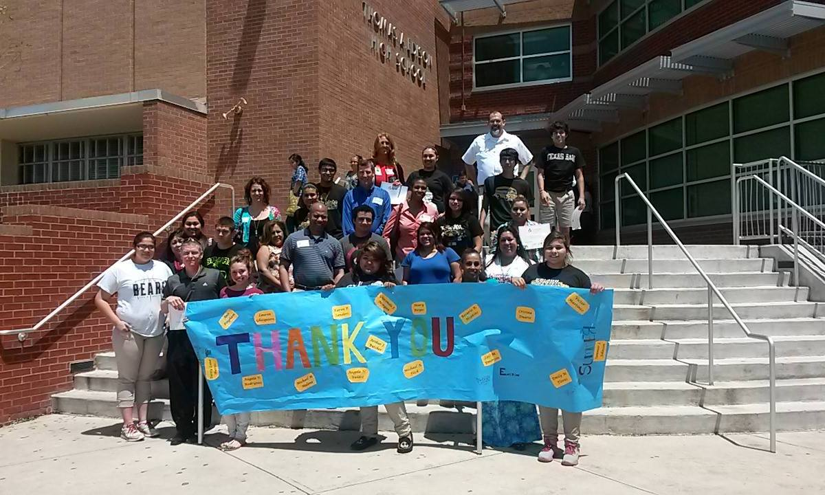 Students from Thomas Edison High School thanks Communities in Schools. Photo courtesy of CIS' Facebook Page.