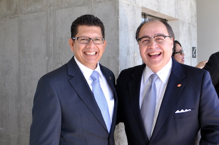 San Antonio Chamber of Commerce President and CEO Richard Perez (left) stands with San Antonio Hispanic Chamber of Commerce President and CEO Ramiro Cavazos at the VYSK media event/expansion and product announcement May 15, 2014. Photo by Iris Dimmick.