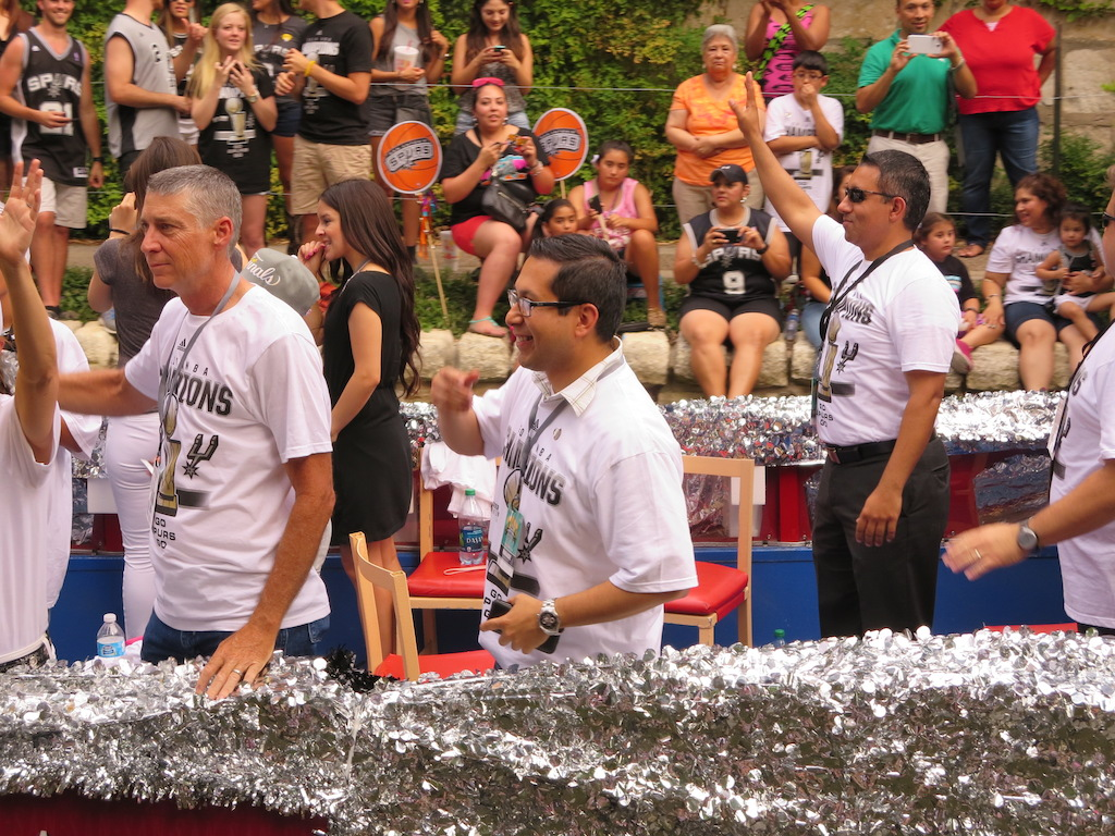 District 1 Councilman Diego Bernal during the 2014 Spurs Championship River Parade on June 30, 2014. Photo by Garrett Heath.