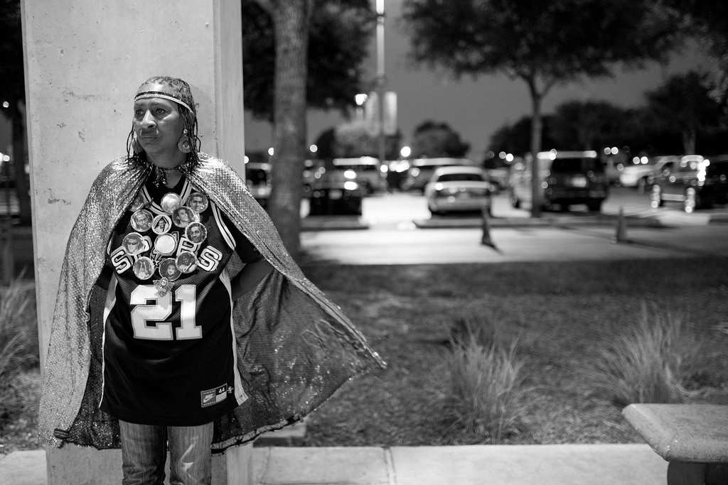 Earline Miller discouraged after learning The Spurs were down in the fourth quarter. She is still not in the game to change their luck for Game 2 of the NBA Finals June 8, 2014. Photo by Scott Ball.