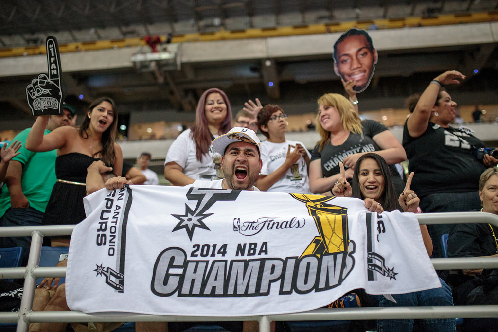 Fans fill the stadium during the Spurs celebration at the Alamodome of their 2014 NBA Finals victory. Photo by Scott Ball.
