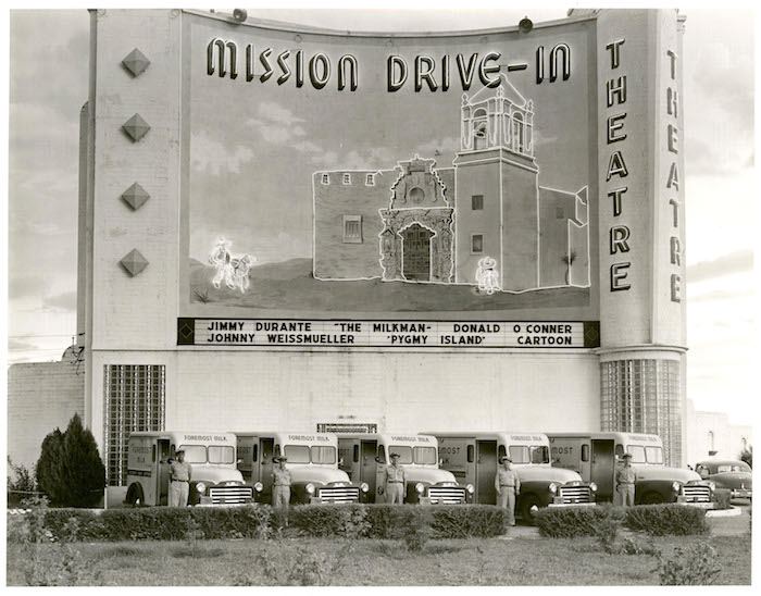 Historic picture of the Marquee Mural on the Mission Drive-In. Image courtesy of the City of San Antonio.