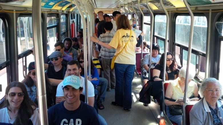 Streetcars are often standing room only. Photo by Jessica Martin, courtesy TTC.