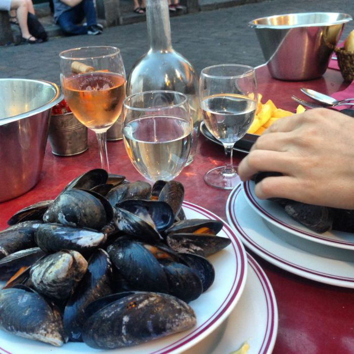 One of France's most popular dishes, mussels with fries, served at a café in Montmartre, Paris.  Photo by Sarah Gibbens.